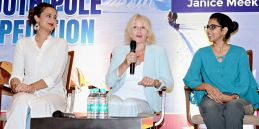 Polar Maidens - Madhabilata, Jan and Tanvi at a press conference in India