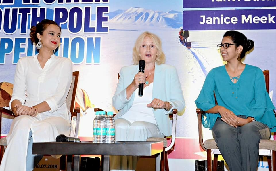 Polar Maidens - Madhabilata, Jan and Tanvi at a press conference in India