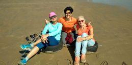 Polar Maidens - Madhabilata, Tanvi and Jan on the beach in Bexhill
