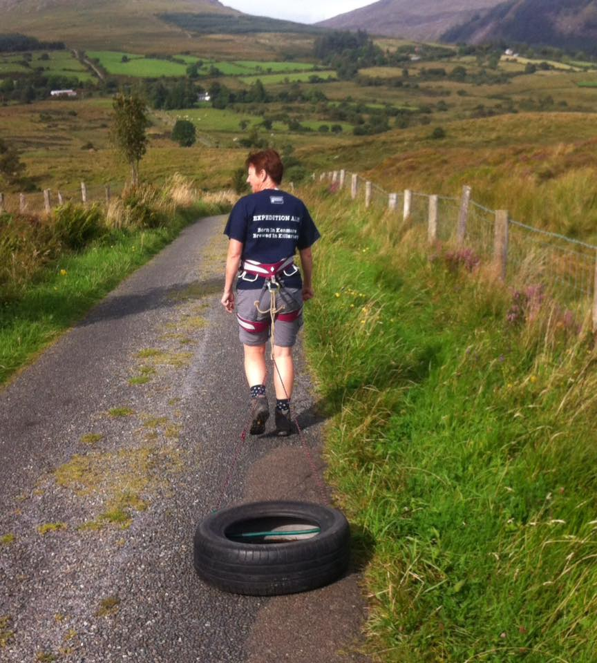 Polar Maidens - Aileen Crean O'Brien training, hauling tyres