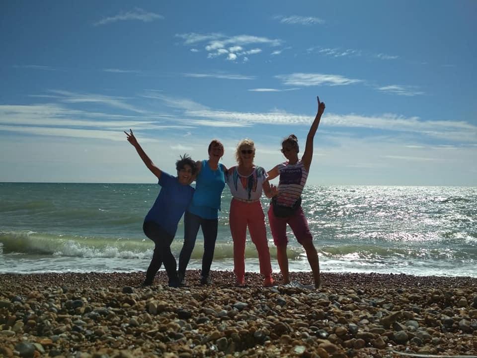 Polar Maidens - Tanvi, Aileen, Jan and Madhabilata enjoying the sun on Bexhill seafront