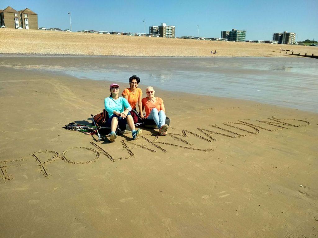 Polar Maidens - Madhabilata, Tanvi and Jan on Bexhill Beach