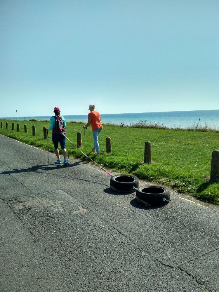 Polar Maidens - Madhabilata and Jan Meek training on Bexhill seafront