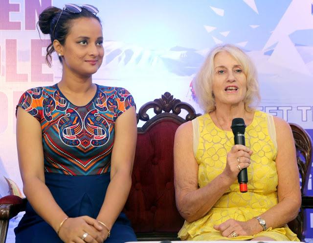 Polar Maidens - Madhabilata, Jan Meek and Tanvi at a press conference in Mumbia, India